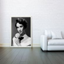Elizabeth Taylor, Prints & Posters, Wall Art Print,  Decorative Arts, Poster Any Size - Black and White Poster